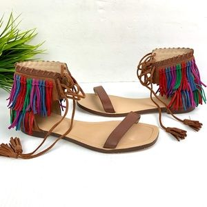 ZARA FRINGED FLAT LEATHER MULTICOLOR SANDALS